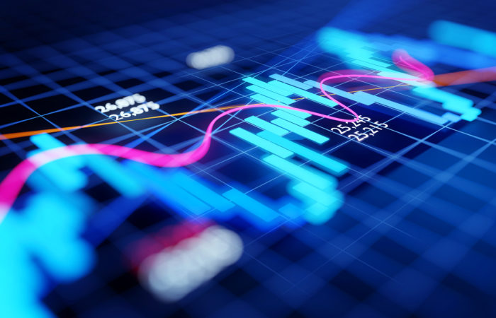 Trading concept of stock market and investments