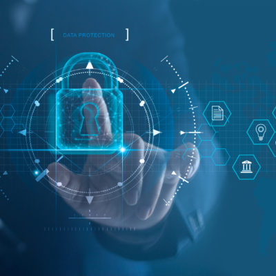 cyber security and data protection concept. Finger with a digital lock