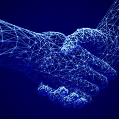 Digital corporate handshake concept