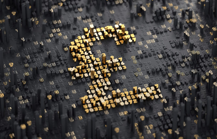 Digital Currency. Pound and finance concept