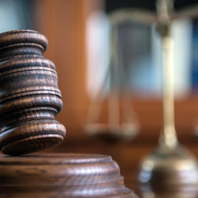 litigation concept with gavel in court