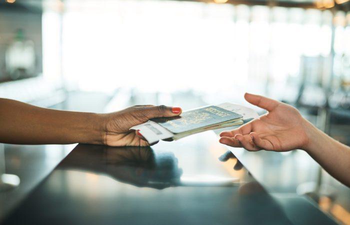 Handing over passport and travel documents