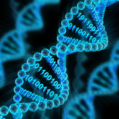 DNA Helix with binary code