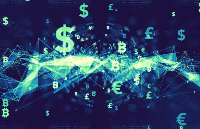 Financial technology concept. Block chain.