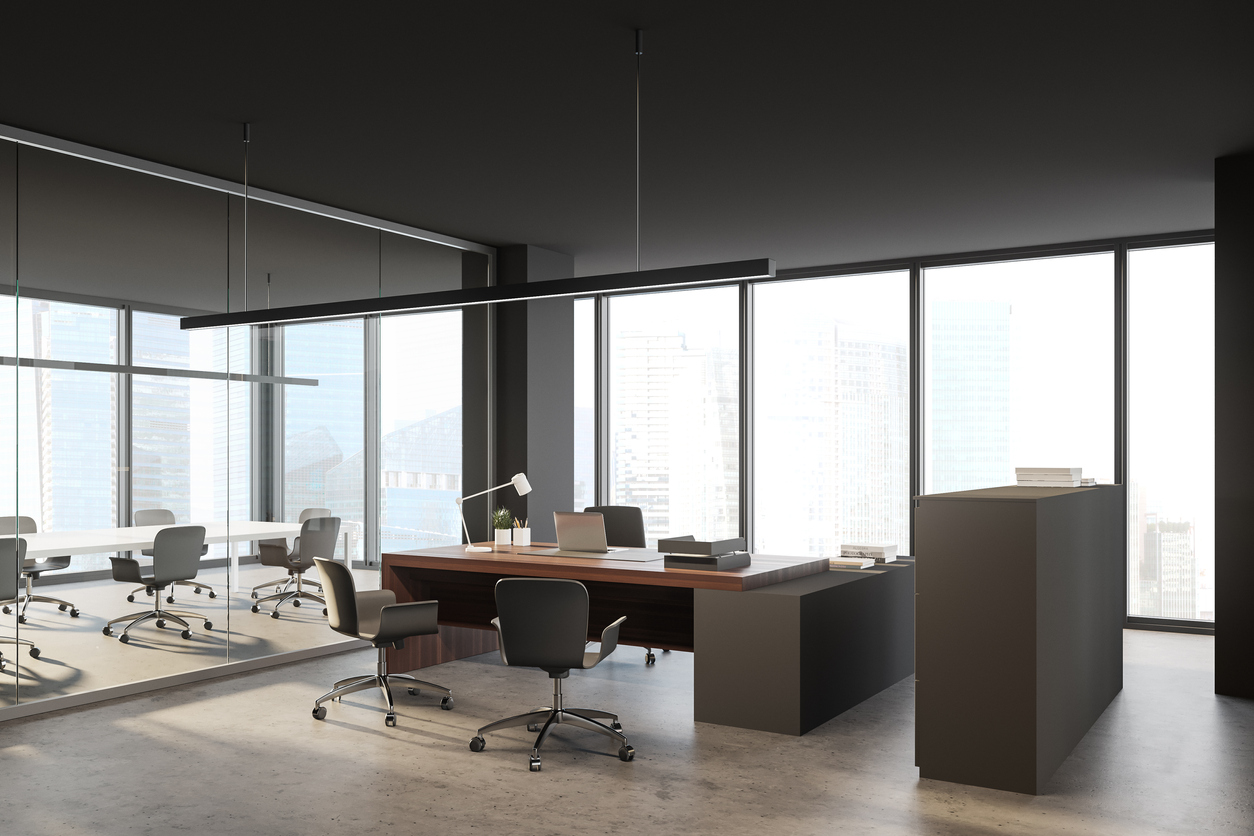 grey CEO office and meeting room