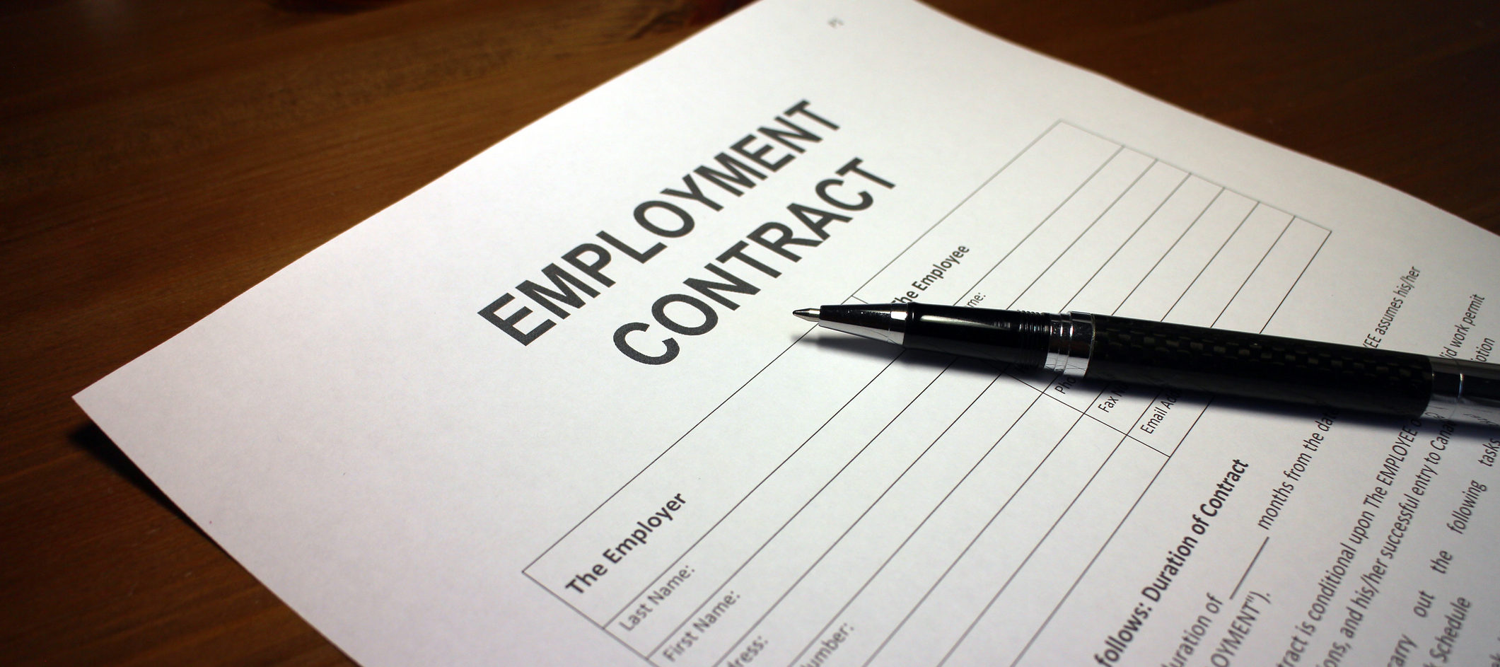Employment contract and pen