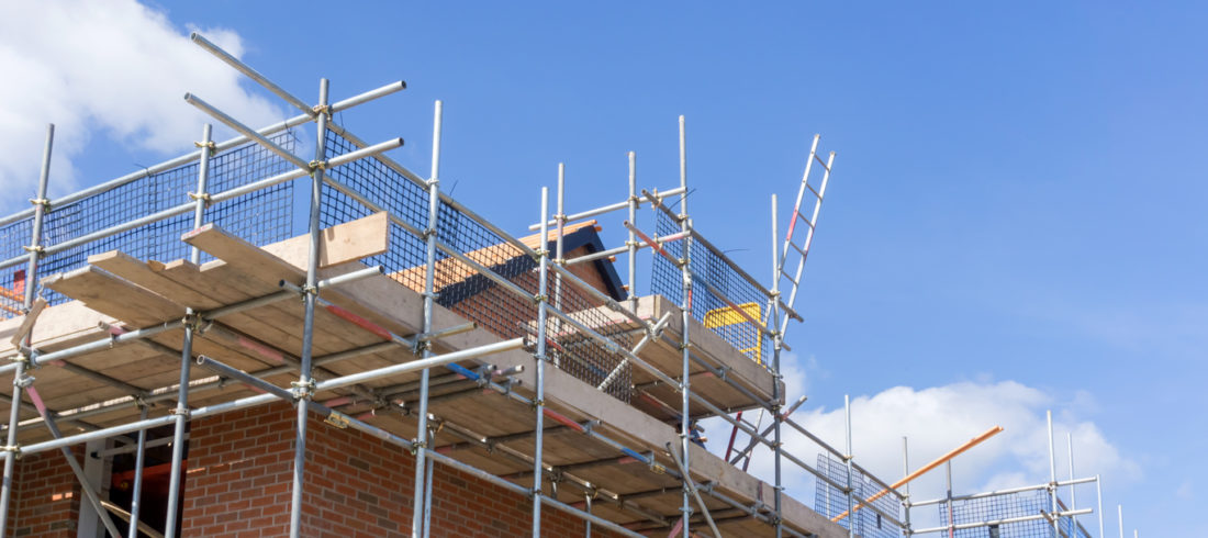 Scaffolding on residential building
