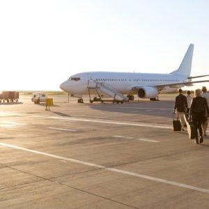 Passengers ready to board a flight