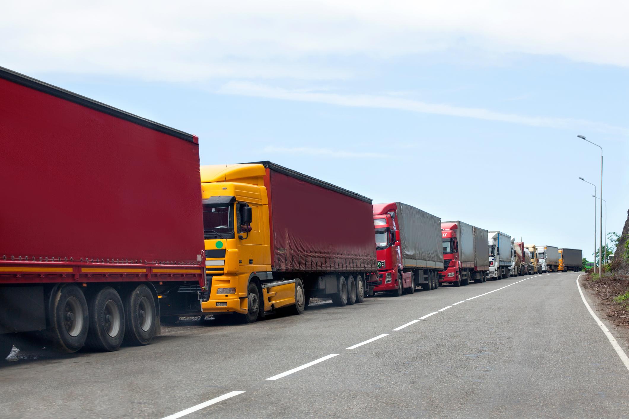 Queue of trucks