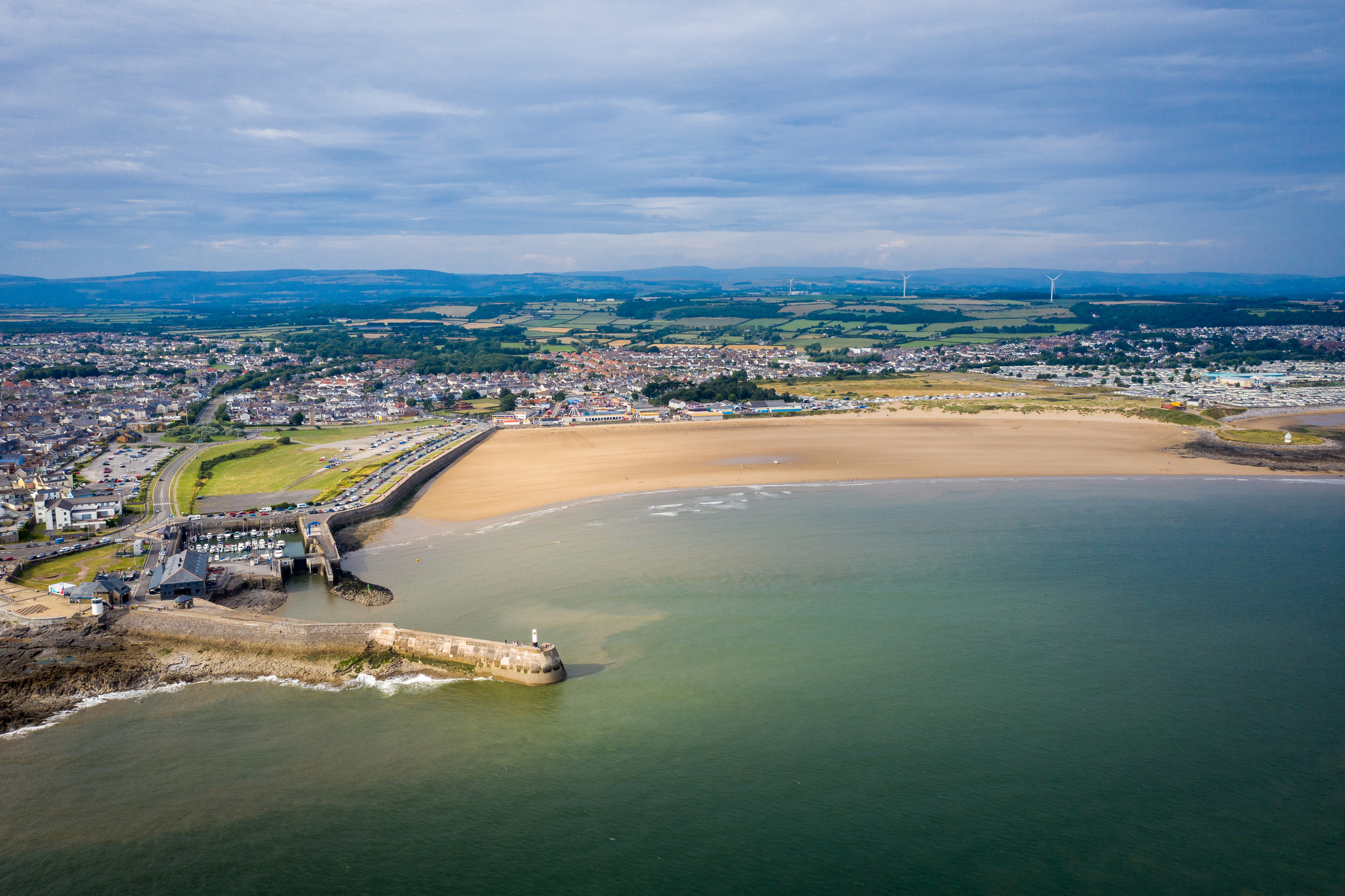 Aerial view of Porthcawl beach harbour