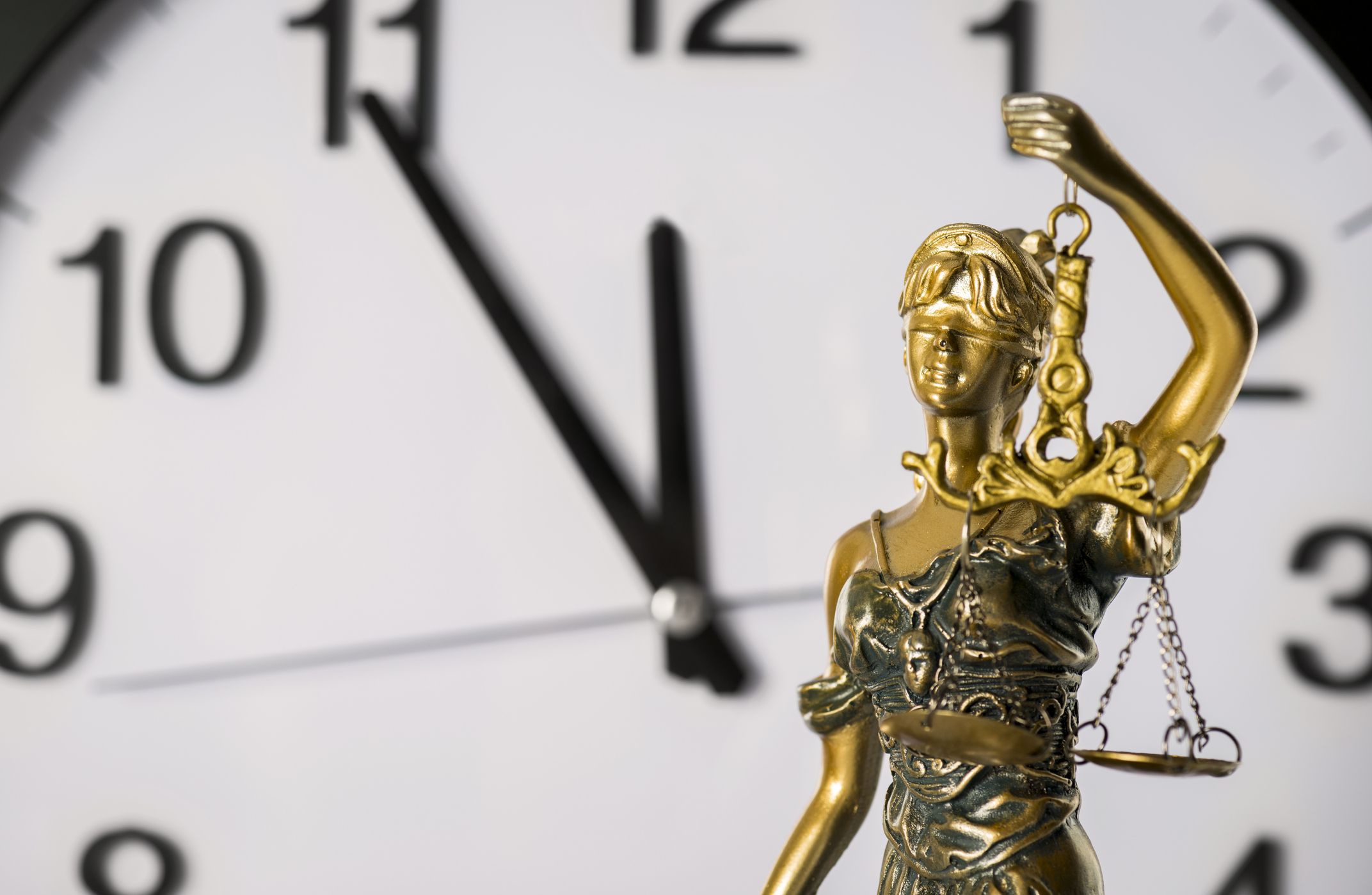 Clock with Lady of Justice statue