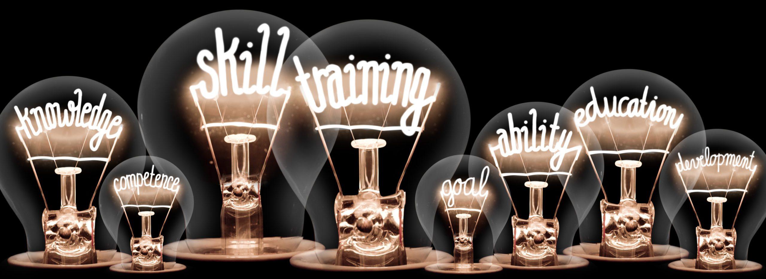 Light Bulbs Concept - knowledge, skill, training, goal, ability
