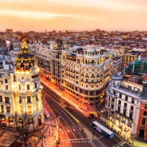 Madrid, Spain at dusk